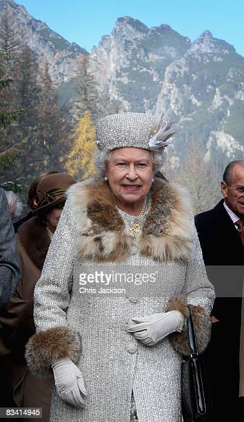 Queen Elizabeth II poses for a photograph during her tour of Hrebienok Ski Resort on the second day of a tour of Slovakia on October 24, 2008 in...