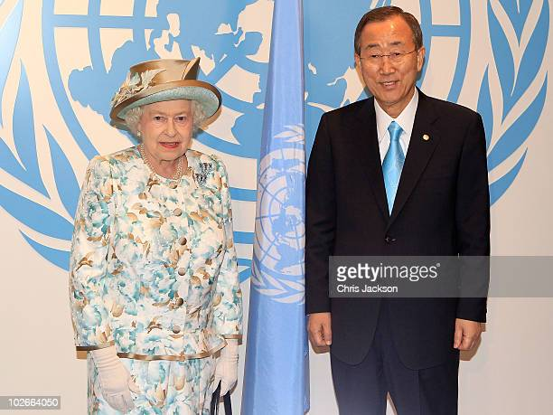 Queen Elizabeth II poses with Ban Ki Moon as she prepares to address the United Nations at the UN Headquarters on July 6, 2010 in New York City....