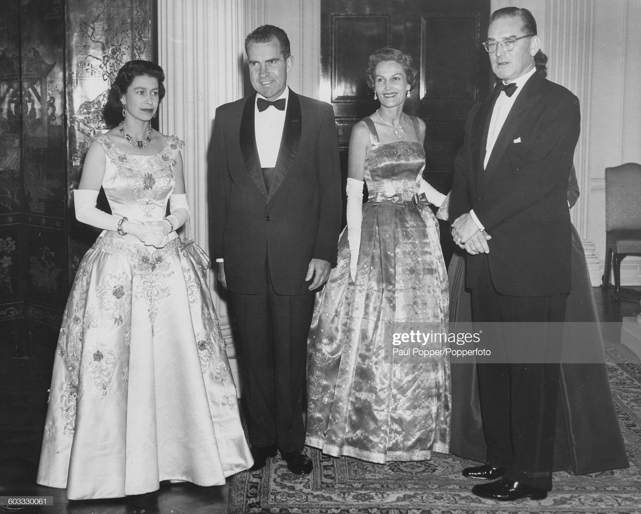 Queen Elizabeth II And Richard Nixon At American Embassy : News Photo