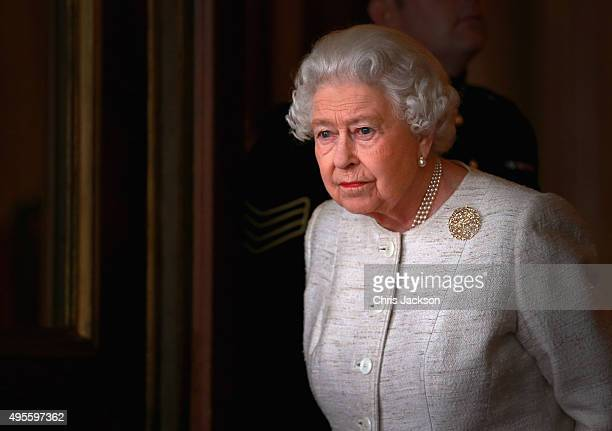 Queen Elizabeth II prepares to greet Kazakhstan President Nursultan Nazarbayev at Buckingham Palace on November 4 2015 in London England The...