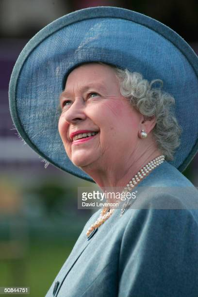 Queen Elizabeth II presents prizes on the fourth and final day of the Royal Windsor Horse Show at Home Park on May 16 2004 in Windsor England