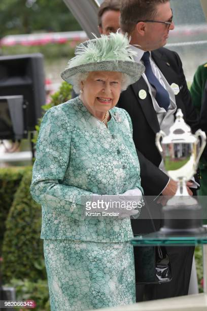 Queen Elizabeth II presents the Diamond Jubilee Stakes on day 5 of Royal Ascot at Ascot Racecourse on June 23 2018 in Ascot England