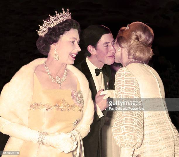 Queen Elizabeth II Prince Charles and the Duchess of Kent arrive at the Dominion Theatre in London for a film premiere on 20th October 1969