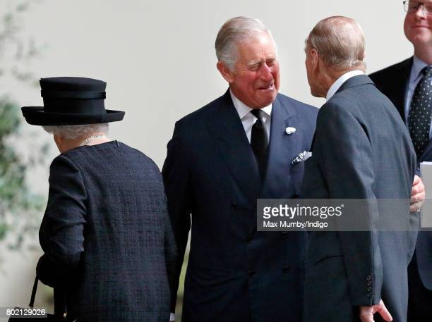 Queen Elizabeth II Prince Charles Prince of Wales and Prince Philip Duke of Edinburgh attend the funeral of Patricia Knatchbull Countess Mountbatten...