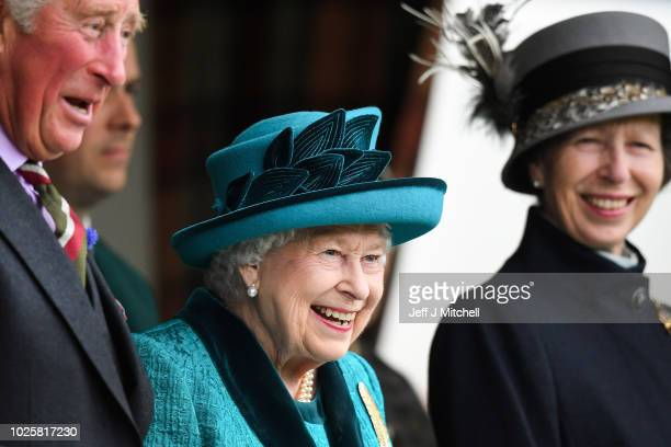 Queen Elizabeth II Prince Charles Prince of Wales and Princess Anne Princess Royal attend the annual Braemar Highland Gathering on September 1 2018...