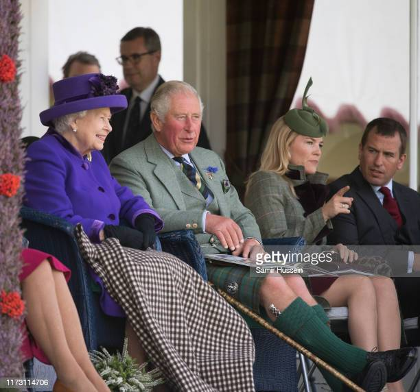 Queen Elizabeth II Prince Charles Prince of Wales Autumn Phillips and Peter Phillips attend the 2019 Braemar Highland Games on September 07 2019 in...