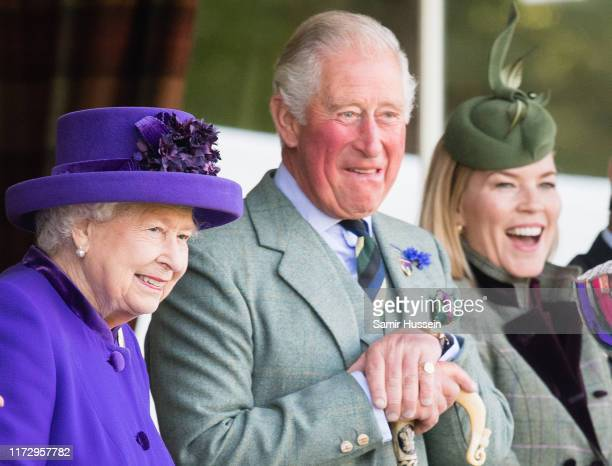 Queen Elizabeth II Prince Charles Prince of Wales Autumn Phillips attend the 2019 Braemar Highland Games on September 07 2019 in Braemar Scotland