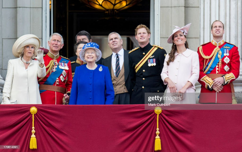 Queen Elizabeth II, Prince Charles, Prince of Wales, Camilla, Duchess of Cornwall, Prince William, Duke of Cambridge, Catherine, Duchess of Cambridge, Prince Harry and Prince Andrew, Duke of York during the annual Trooping The Colour ceremony at Buckingham Palace on June 15, 2013 in London, England.