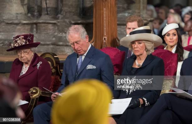 Queen Elizabeth II Prince Charles Prince of Wales Camilla Duchess of Cornwall Prince Harry and Meghan Markle attend the Commonwealth Service at...