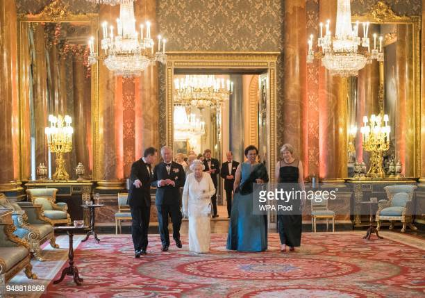 Queen Elizabeth II Prince Charles Prince of Wales Commonwealth SecretaryGeneral Patricia Scotland and Prime Minister Theresa May in the Blue Drawing...