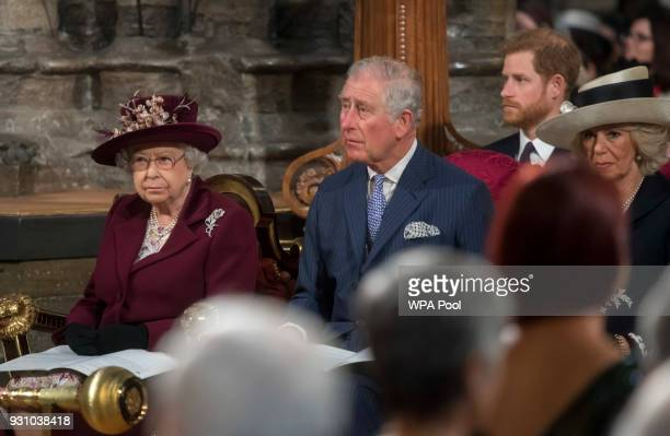 Queen Elizabeth II Prince Charles Prince of Wales Prince Harry and Camilla Duchess of Cornwall attend the Commonwealth Service at Westminster Abbey...