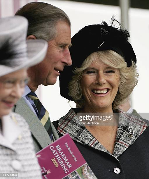 Queen Elizabeth II Prince Charles The Prince of Wales and Camilla Duchess of Cornwall break into laughter as they watch Balmoral compete in the...