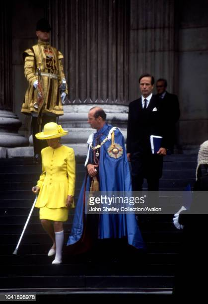 Queen Elizabeth II Prince Edward Duke of Kent Katharine Duchess of Kent Leaving St Paul's Cathedral after attending the Order of St Michael and St...