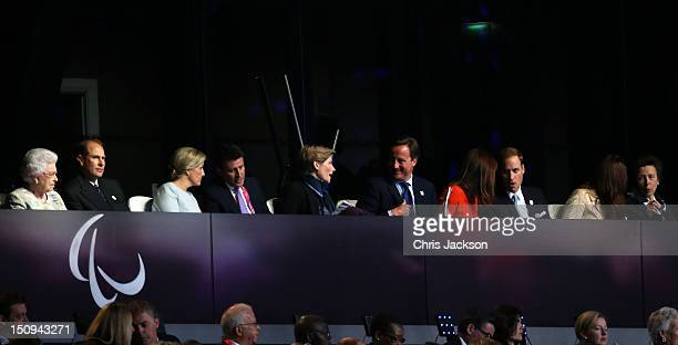 Queen Elizabeth II Prince Edward Earl of Wessex Sophie Countess of Wessex LOCOG chairman Lord Sebastian Coe and wife Carole Annett British Prime...