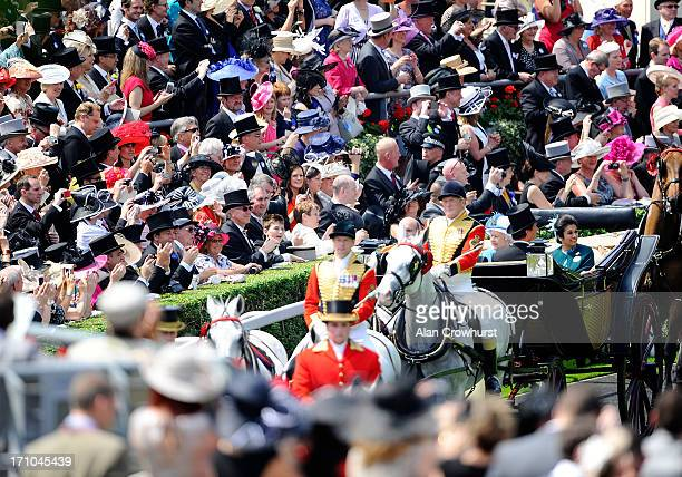 Queen Elizabeth II Prince El Hassan bin Talal Princess Sarvath El Hassan and The Duke of Argyll during the Royal Procession on day four of Royal...