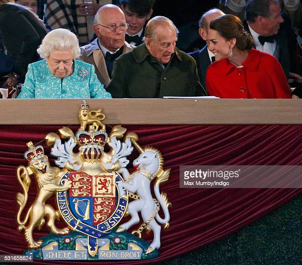 Queen Elizabeth II Prince Ludwig of BadenPrince Philip Duke of Edinburgh and Catherine Duchess of Cambridge attend the final night of The Queen's...