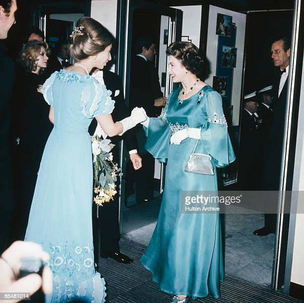 Queen Elizabeth II Prince Philip and Princess Anne attend the UK film premiere of 'Murder on the Orient Express' at the ABC Cinema Shaftesbury Avenue...