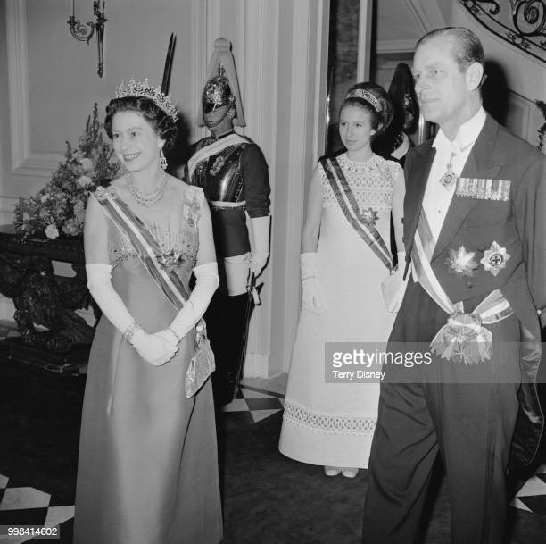Queen Elizabeth II, Prince Philip and Princess Anne on an official visit to Austria at the British Embassy in Vienna, 9th May 1969.