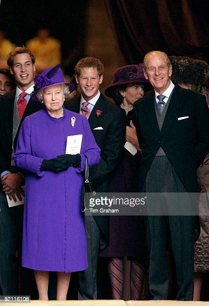 Queen Elizabeth II Prince Philip And Their Grandsons Prince William And Prince Harry At The Van Cutsem/grosvenor Wedding At Chester Cathedral Behind...