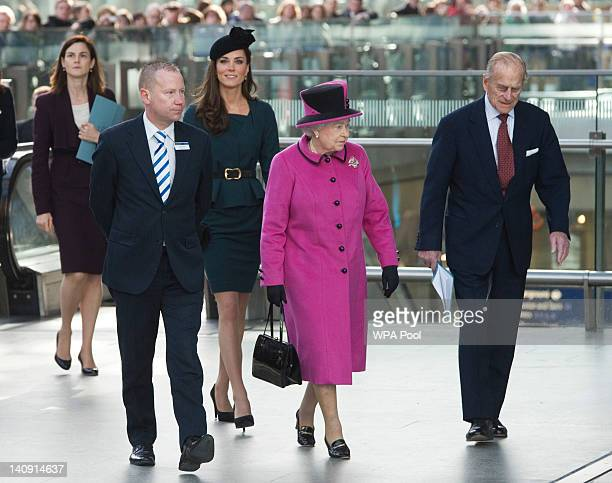 Queen Elizabeth II Prince Philip Duke of Edinburgh and Catherine Duchess of Cambridge arrive at St Pancras station before boarding a train to visit...