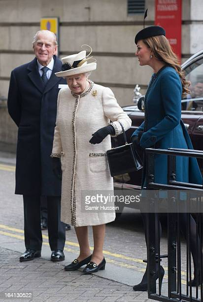 Queen Elizabeth II Prince Philip Duke of Edinburgh and Catherine Duchess of Cambridge visit Baker Street Underground Station to celebrate the...