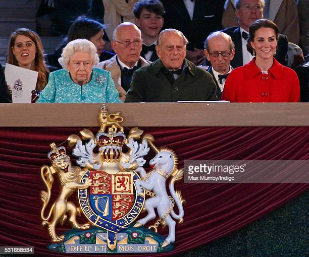 Queen Elizabeth II Prince Philip Duke of Edinburgh and Catherine Duchess of Cambridge attend the final night of The Queen's 90th Birthday...