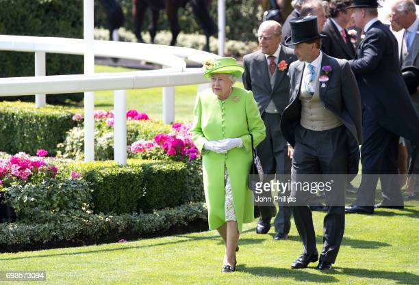 Queen Elizabeth II Prince Philip Duke of Edinburgh and Johnny Weatherby attend day 1 of Royal Ascot 2017 at Ascot Racecourse on June 20 2017 in Ascot...