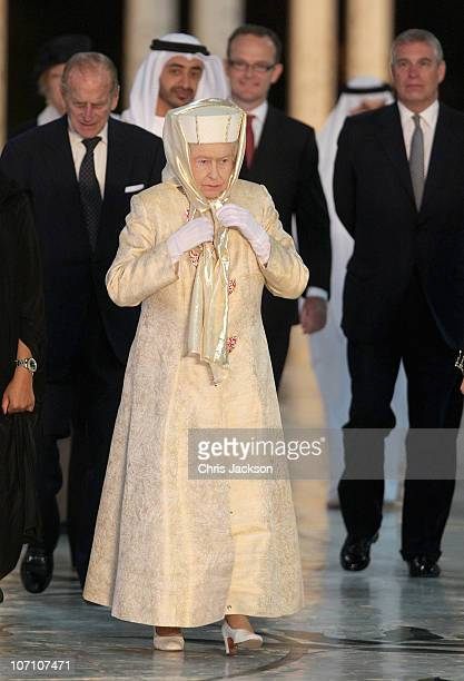 Queen Elizabeth II Prince Philip Duke of Edinburgh and Prince Andrew Duke of York arrives at the Sheikh Zayed Mosque on November 24 2010 in Abu Dhabi...
