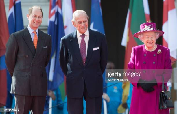 Queen Elizabeth II Prince Philip Duke of Edinburgh and Prince Edward Earl of Wessex attend the launch of The Queen's Baton Relay for the XXI...