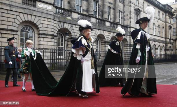 Queen Elizabeth II Prince Philip Duke of Edinburgh and Princess Anne Princess Royal attend the Thistle Service at St Giles' Cathedral on July 15 2010...