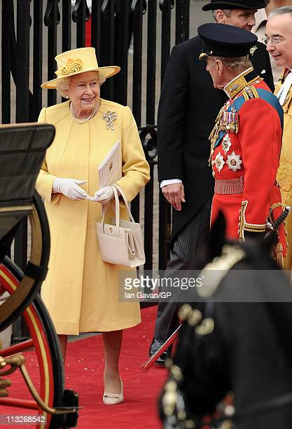 Queen Elizabeth II Prince Philip Duke of Edinburgh and The Right Reverend Dr John Hall Dean of Westminster exit Westminster Abbey after the Royal...