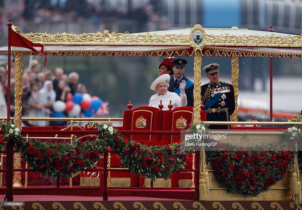 Queen Elizabeth II, Prince Philip, Duke of Edinburgh, Catherine, Duchess of Cambridge and Prince William, Duke of Cambridge sail on the royal barge 'The Spirit of Chartwell' during the Thames Diamond Jubilee River Pageant during the Thames Diamond Jubilee River Pageant on June 3, 2012 in London, England. For only the second time in its history the UK celebrates the Diamond Jubilee of a monarch. Her Majesty Queen Elizabeth II celebrates the 60th anniversary of her ascension to the throne. Thousands of well-wishers from around the world have flocked to London to witness the spectacle of the weekend's celebrations. The Queen along with all members of the royal family will participate in a River Pageant with a flotilla of a 1,000 boats accompanying them down The Thames.