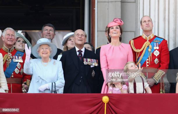 Queen Elizabeth II Prince Philip Duke of Edinburgh Catherine Duchess of Cambridge Princess Charlotte of Cambridge Prince George of Cambridge and...