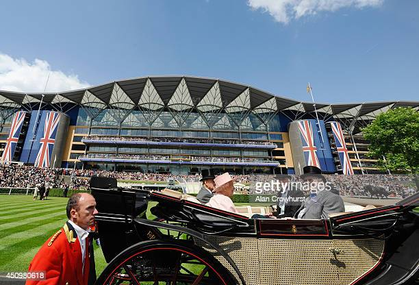 Queen Elizabeth II Prince Philip Duke of Edinburgh Charles Barnett and John Deer during the Royal Procession on day five of Royal Ascot at Ascot...