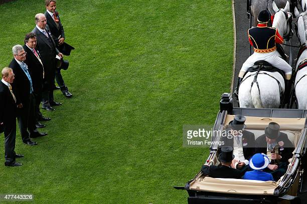 Queen Elizabeth II Prince Philip Duke of Edinburgh Duke of Devonshire and Lord Vetsey during the Royal Procession on day 2 of Royal Ascot 2015 at...