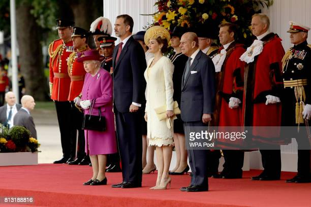 Queen Elizabeth II Prince Philip Duke of Edinburgh King Felipe VI and Queen Letizia of Spain attend a Ceremonial Welcome on Horse Guards Parade on...