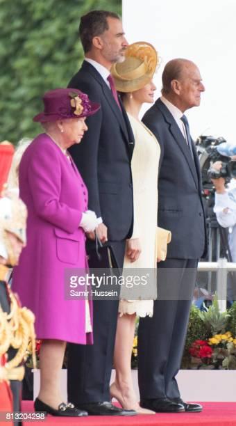 Queen Elizabeth II Prince Philip Duke of Edinburgh King Felipe VI and Queen Letizia of Spain attend a Ceremonial Welcome on Horse Guards Parade...