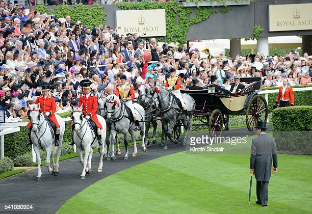 Queen Elizabeth II Prince Philip Duke of Edinburgh Major General Sir Edward SmythOsbourne and Anthony Oppenheimer arrive in the Royal Procession on...