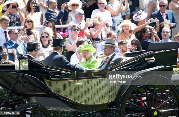 Queen Elizabeth II Prince Philip Duke of Edinburgh Prince Andrew Duke of York and Lord Vestey are seen during the Royal Procession on day 1 of Royal...