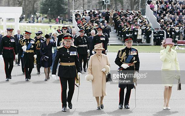 Queen Elizabeth II Prince Philip Duke of Edinburgh Prince Charles Prince of Wales and Camilla Duchess of Cornwall attend the Sovereign's Parade at...
