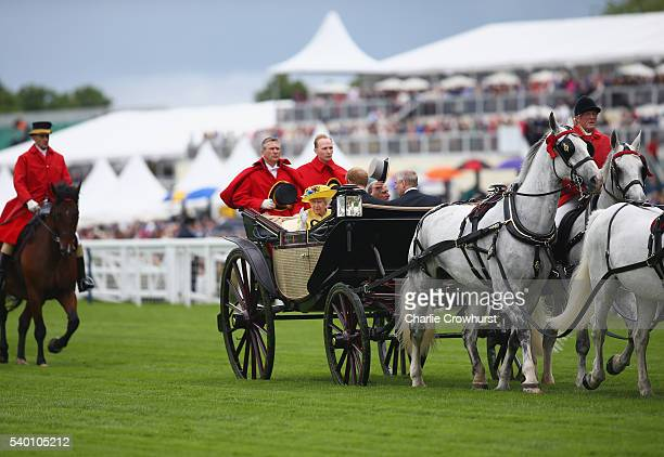 Queen Elizabeth II Prince Philip Duke of Edinburgh Prince Harry and Prince Andrew Duke of York during the Royal Procession on day 1 of Royal Ascot at...