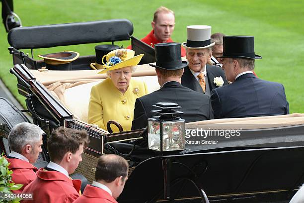 Queen Elizabeth II Prince Philip Duke of Edinburgh Prince Harry and Prince Andrew Duke of York arrive by carriage on day 1 of Royal Ascot at Ascot...