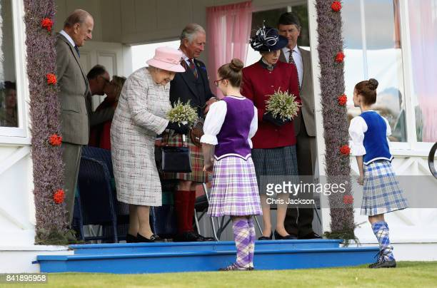 Queen Elizabeth II Prince Philip Duke of Edinburgh Princess Anne Princess Royal and Prince Charles Prince of Wales attend the 2017 Braemar Gathering...