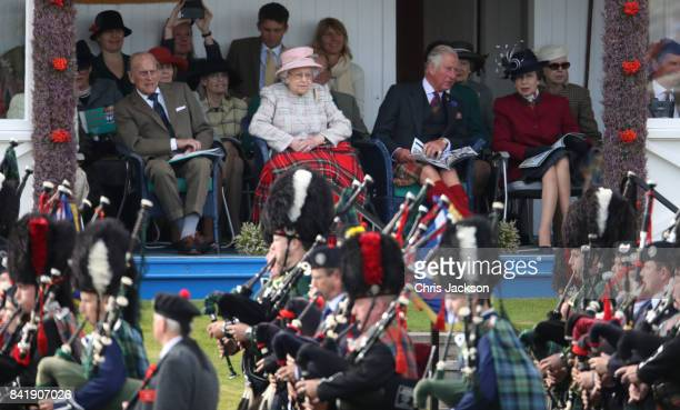 Queen Elizabeth II Prince Philip Duke of Edinburgh Princess Anne Princess Royal and Prince Charles Prince of Wales watch the 2017 Braemar Gathering...
