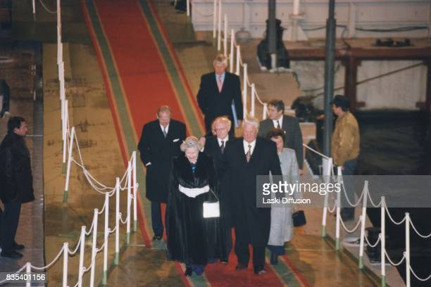 Queen Elizabeth II Prince Philip Duke of Edinburgh Russian President Boris Yeltsin and Naina Yeltsina at Saint Petersburg harbour Russia on 20th...