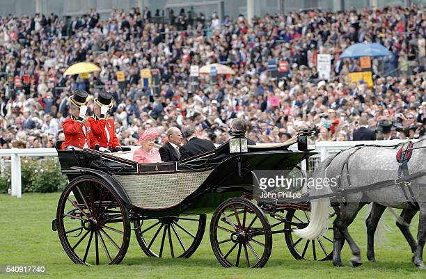 Queen Elizabeth II, Prince Philip, Duke of Edinburgh, The Duke of Fife and Viscount Linley arrive in the Royal Procession on day 4 of Royal Ascot at...
