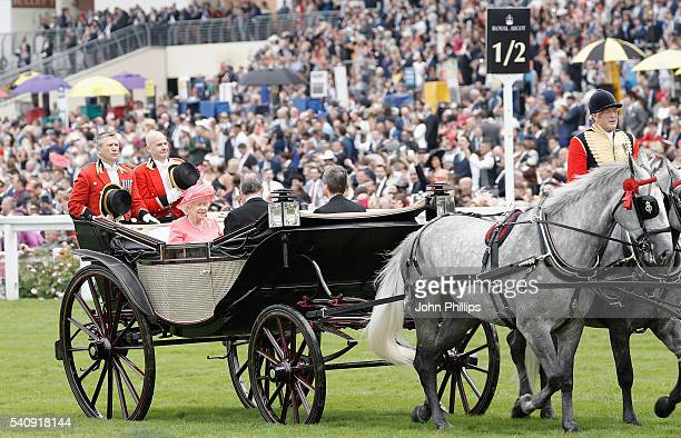 Queen Elizabeth II Prince Philip Duke of Edinburgh The Duke of Fife and Viscount Linley arrive in the Royal Procession on day 4 of Royal Ascot at...