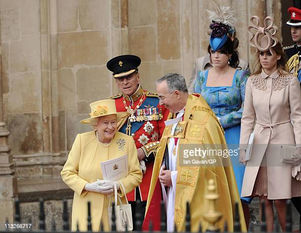 Queen Elizabeth II Prince Philip Duke of Edinburgh The Right Reverend Dr John Hall Dean of Westminster Princess Eugenie of York and Princess Beatrice...