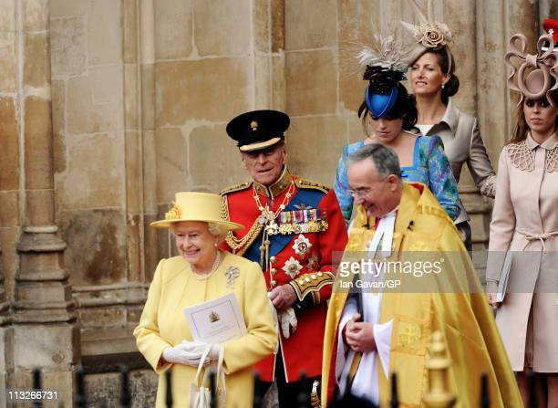 Queen Elizabeth II, Prince Philip, Duke of Edinburgh, The Right Reverend Dr John Hall, Dean of Westminster, Princess Eugenie of York, Sophie,...