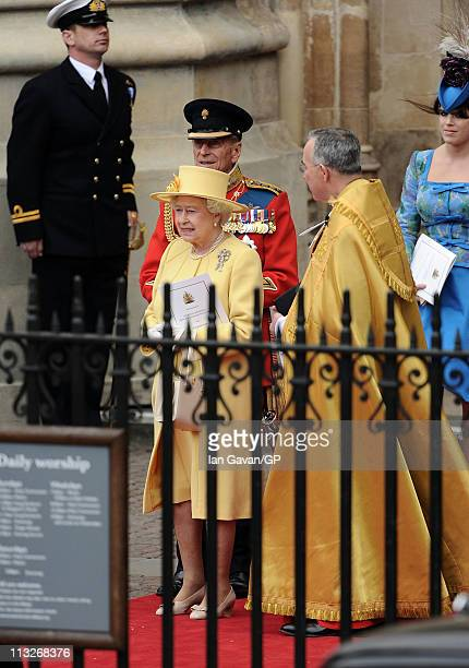 Queen Elizabeth II Prince Philip Duke of Edinburgh The Right Reverend Dr John Hall Dean of Westminster and Princess Eugenie of York exit Westminster...